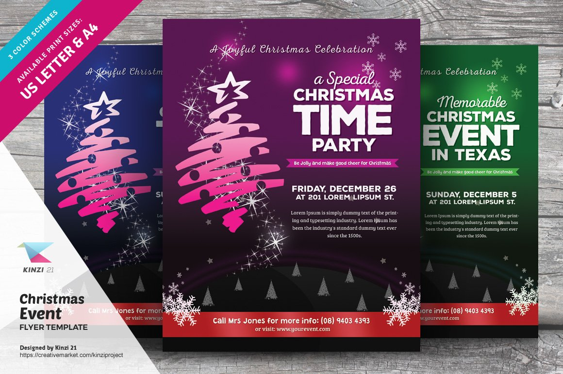 christmas event flyer template v 03 flyer templates creative market