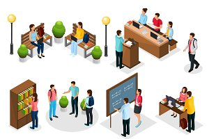 Isometric Students In University Set
