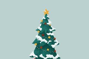 Hand drawn decorated Christmas tree