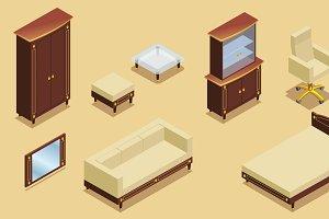 Isometric Hotel Furniture Elements