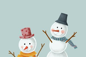 Two cute X'mas snowman illustration