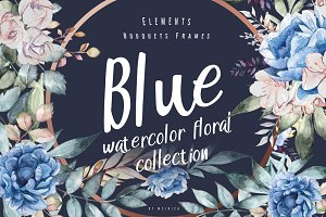 Blue - Watercolor Floral Collection