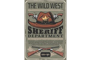 American Wild West sheriff hat, gun
