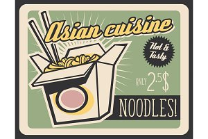 Asian noodles box fastfood, vector