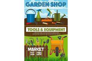 Garden shop market, vector poster