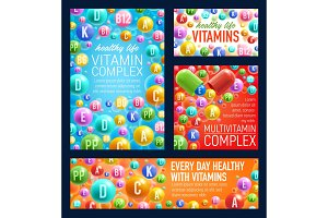 Vitamins and minerals vector pills