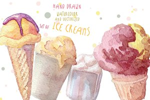 Watercolor ice creams vector