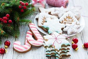 Christmas cookies and Christmas tree