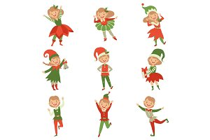 Cute playful boys and girls in elf