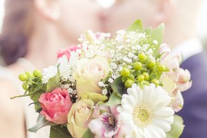 Wedding Bouquet with Bride & Groom
