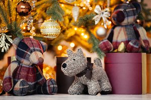 toys and gift under a Christmas tree