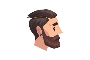 Head of young bearded man with