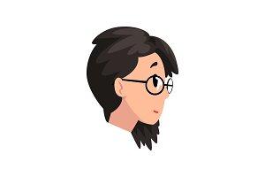 Head of brunette girl with glasses