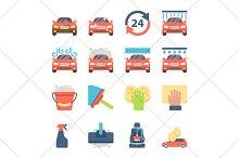 car wash flat icons