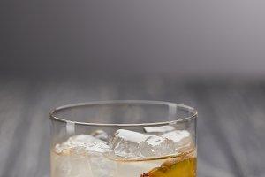 glass of lemonade with pineapple pie