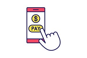 Online payment color icon