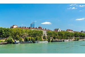 The Rhone Riverside in Lyon, France