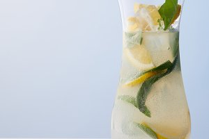 jug of lemonade with mint leaves, ic