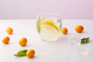 glass of lemonade with mint leaves a