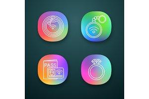 NFC technology app icons set
