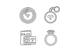 NFC technology linear icons set