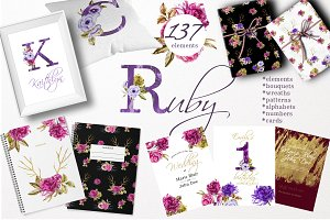 Watercolor Ruby Clipart Set