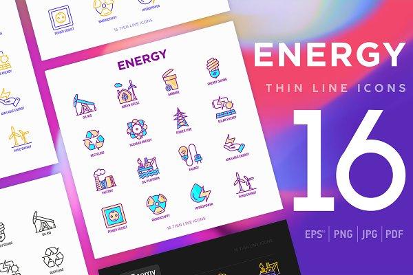 Icons: Blogoodf - Energy | 16 Thin Line Icons Set