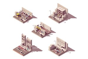 Isometric car parking icon set