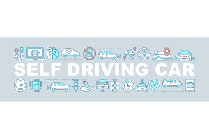 Self driving car concepts banner