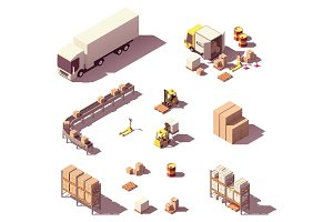 Vector isometric warehouse equipment