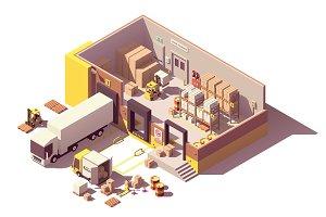 Isometric warehouse cross-section