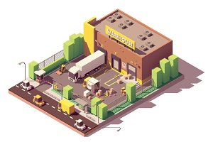 Vector isometric warehouse building
