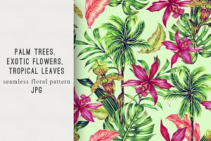 Palm trees,leaves,flowers pattern