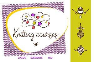 Knitting, needlework logos