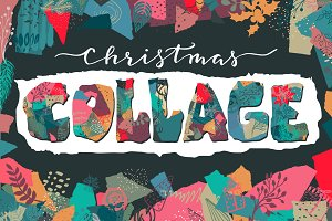 Christmas collage vector set