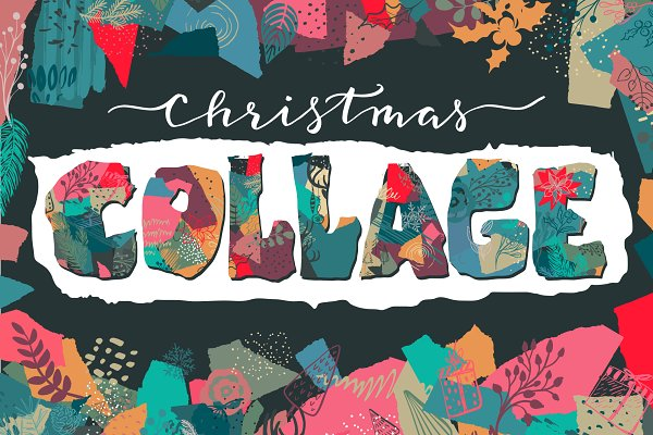 Christmas collage vector set