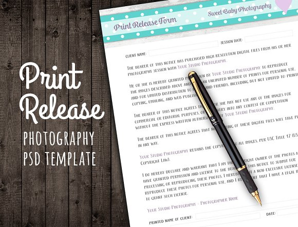 Print Release Form Template Contract ~ Templates ~ Creative Market