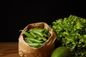 close-up shot of avocado, green peas