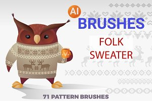 Folk Sweater Brushes for Illustrator