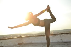 Working out in the sunset