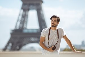 Paris Eiffel Tower tourist with