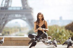 Beautiful young tourist girl near