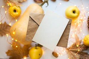 card and pumpkins, ribbon, apples