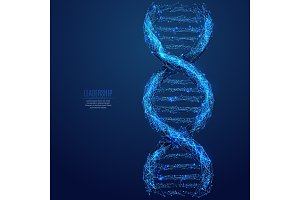 DNA low poly blue