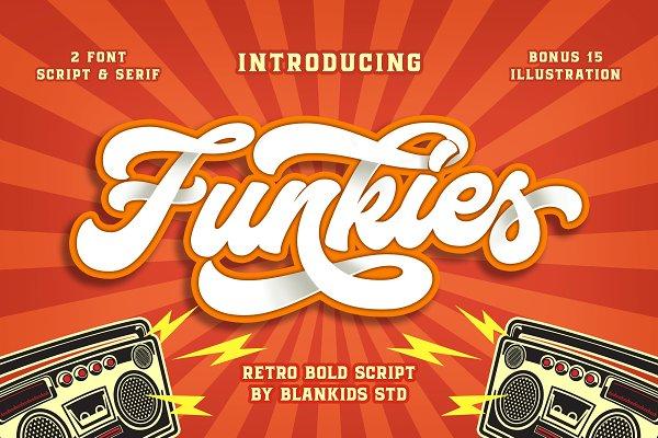 Script Fonts: Blankids Studio - Funkies 2 Font + Extras (INTRO SALE)