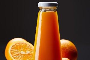 bottle of fresh orange juice with or