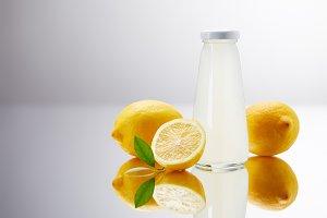 glass bottle of delicious lemonade w