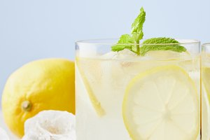 fresh glasses of lemonade with ice a