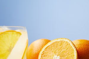 glass of refreshing lemonade with or