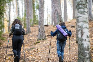 Nordic walking. Child boy and young